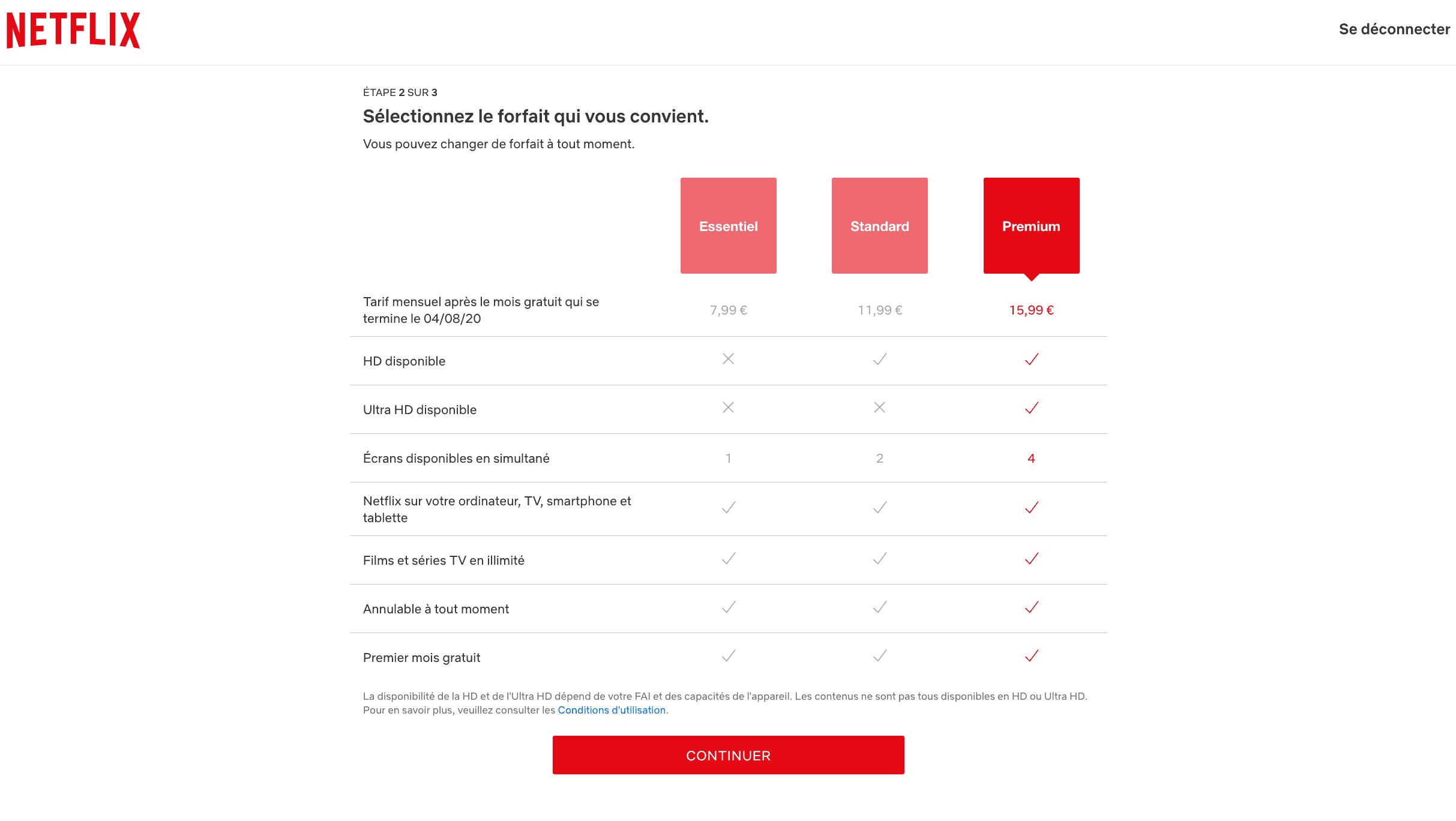 les 3 offres d'abonnement netflix